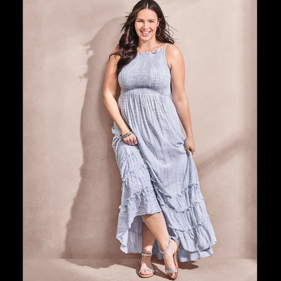 52448dcb6a268 torrid Dresses | Light Blue White Tiedye Challis Maxi Dress | Poshmark